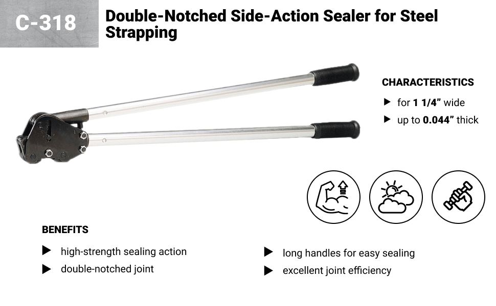 Teknika C-318 Double Notched Side Action Sealer for 1-1//4 Steel Strapping