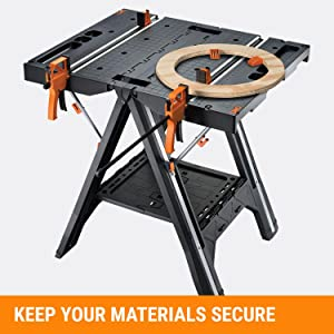 WORX Pegasus Multi-Function Work Table and Sawhorse with Quick Clamps and Holding Pegs – WX051 19