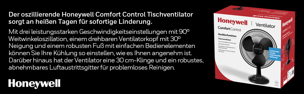 Honeywell; Honeywell ComfortControl; orzillierender tischventilator