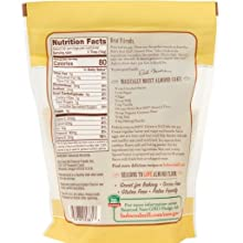almond flour back packaging including nutrition facts and information and recipes