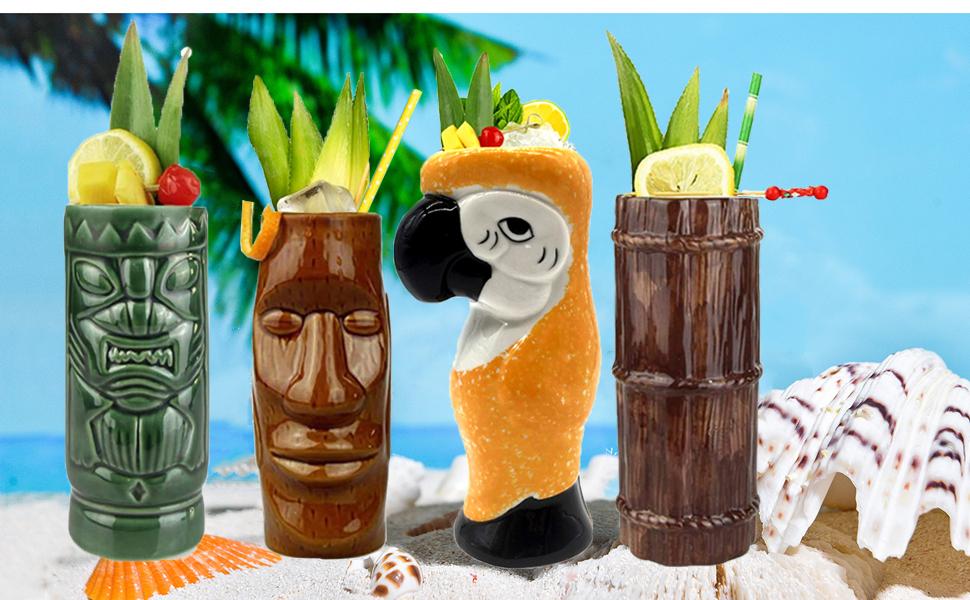 Tiki Mug tazza bicchiere da cocktail stile Hawaiano set kit 8 pezzi
