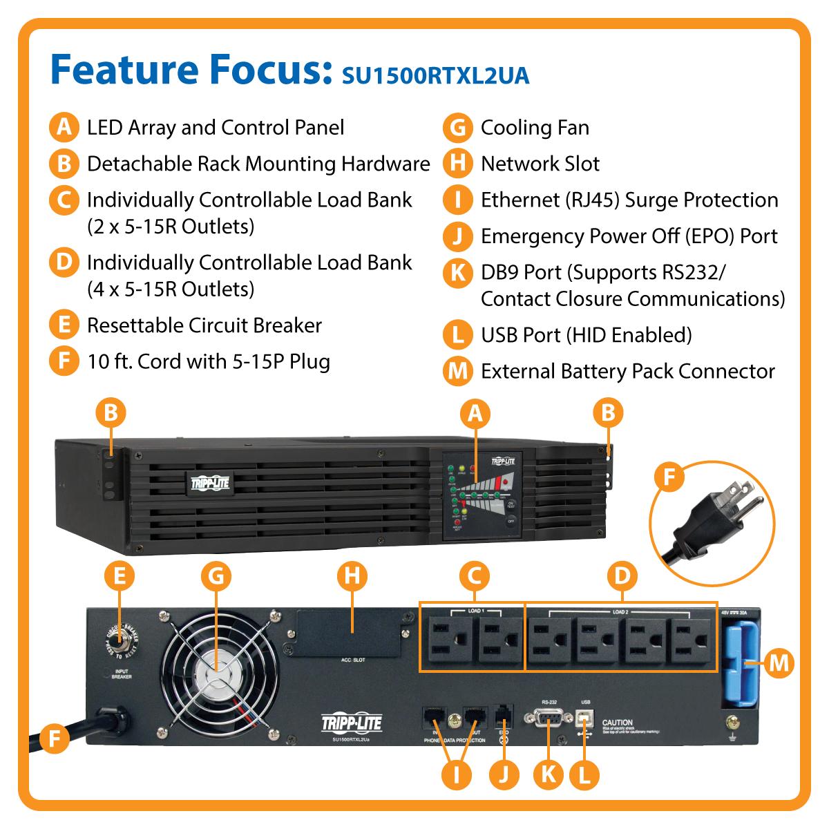 Tripp Lite 1500VA Smart Online UPS, 1200W Double-Conversion, 2U Rack/Tower, on