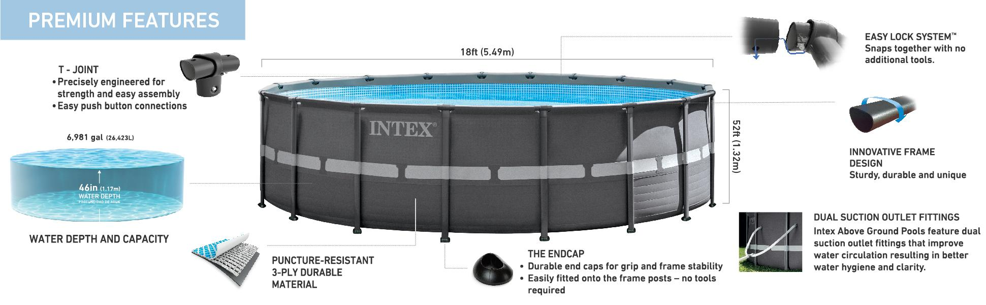 Amazoncom Intex 18ft X 52in Ultra Frame Pool Set with