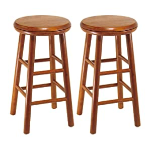 Unique Cherry Wood Swivel Bar Stool
