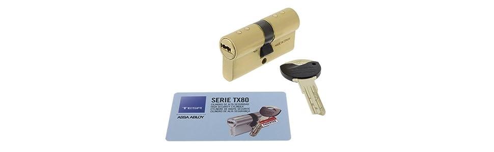 Cilindro patentado; Cilindro de seguridad; Alta seguridad; TX80