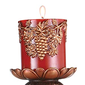 ruby,red,candle,holder,light,lighting,home,decor,flourish,embellished,polyresin,traditional,dining