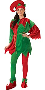 Green and red elf costume