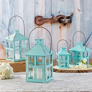 Vintage Teal Blue Lanterns - Available in 4 different sizes