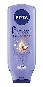 nivea lait corps sous la douche hydratation huile crème soin visage femme peau sèche
