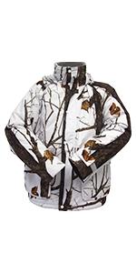 cold weather camo, snow camo, ice fishing jacket, late season camo