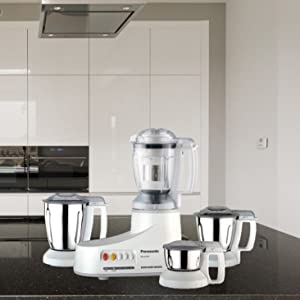 Panasonic AC MX-AC400 550-Watt Super Mixer Grinder with 4 Jars (White)