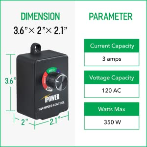 iPower Variable Vent Controller Inline Duct Fan Speed Adjuster