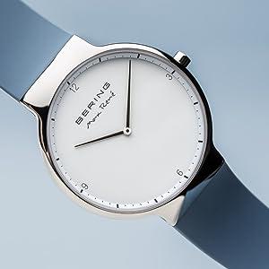 Bering caballeros pulsera cristal de zafiro reloj delgado unisexo Behring Skagen Max-René diseño