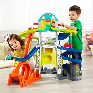 Fisher Price Launch and Loop Raceway - Boy & Girl having a great time with the toy