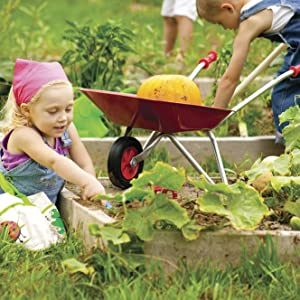 KIDS WHEELBARROW, WHEELBARROW FOR KIDS, GARDENING FOR KIDS, KIDS GARDENING, GARDENING TOOLS FOR KIDS