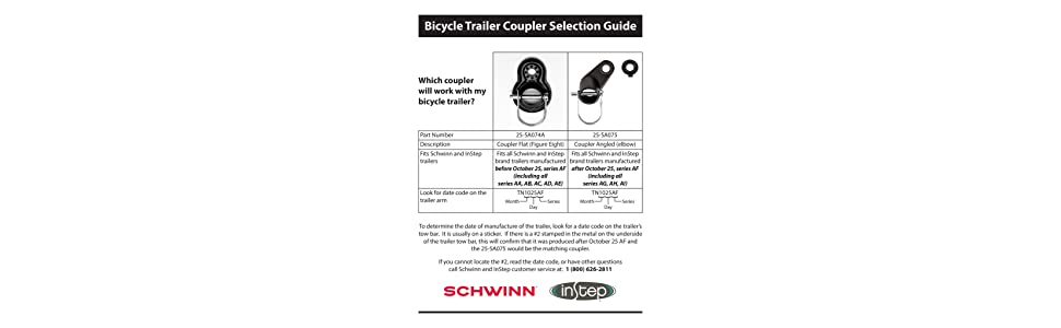 Flat Angled... Coupler Attachments for Instep and Schwinn Bike Trailers
