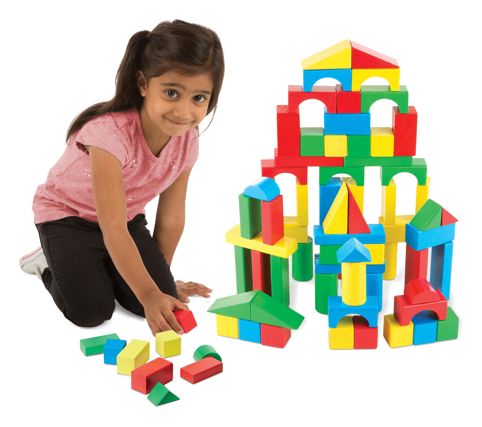 Melissa & Doug Wooden Building Blocks Set 100 Blocks in 4