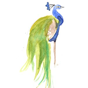 peacock, watercolor