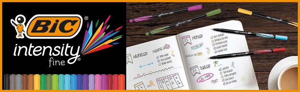 BIC Intensity Felt Tip Fineliner Set for journaling and adult colouring