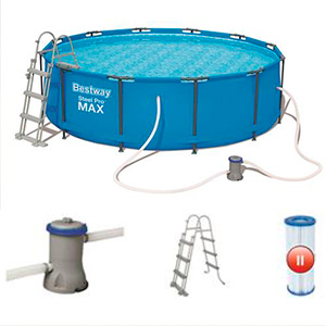 Bestway Steel Pro Piscina desmontable tubular, 366 x 100 cm, 56418 ...