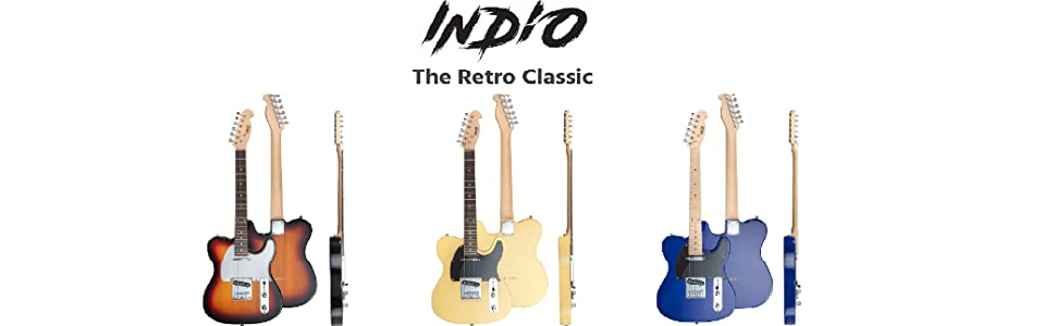Indio Retro Classic Electric Guitar with Gig Bag-Blond