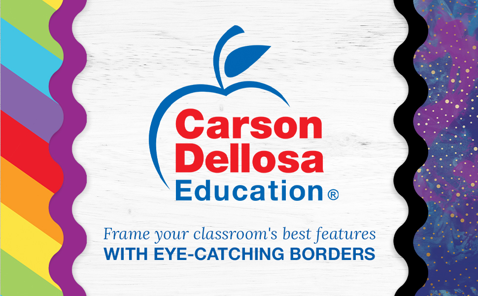 Carson Dellosa logo with slogan and 4 examples of borders