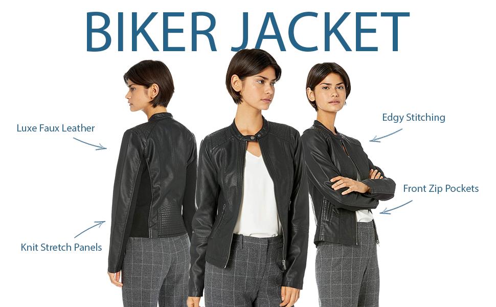 biker faux leather moto jacket comfort fit