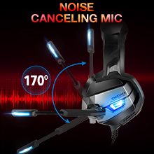 ONIKUMA Gaming Headset for Xbox One, PS4 Headset with Noise Canceling Mic & 7.1 Stereo Surround Bass