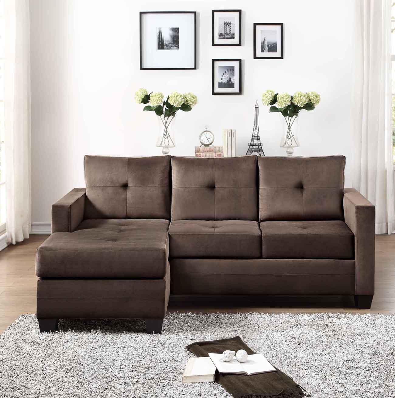 Homelegance phelps contemporary microfiber for Brown microfiber sectional with chaise