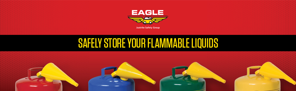 Safely store flammable liquids funnel eagle red