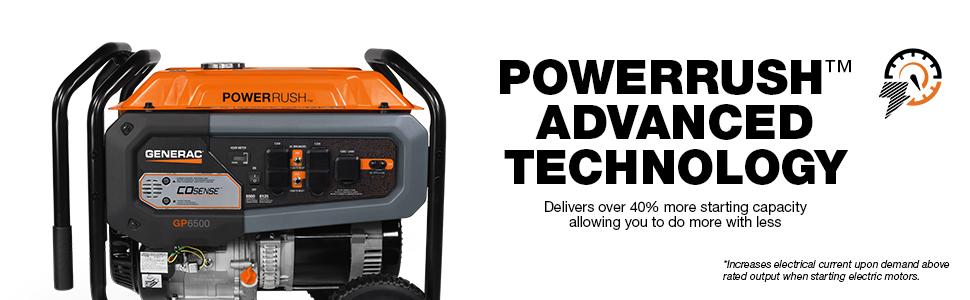 Generac, Generator, Portable, Powerrush Technology