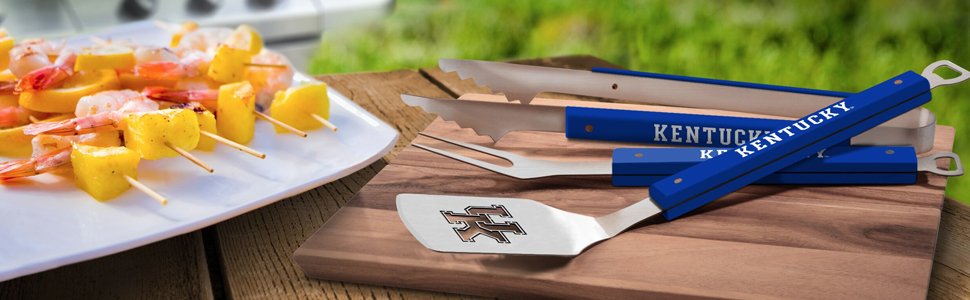 22 x 9 YouTheFan 5022074 NCAA Wyoming Cowboys Spirit Series 3-Piece BBQ Set Stainless Steel