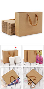 50pcs Brown Kraft Paper Bags Brown Paper Bags with Handles Bulk Eusoar 6.3x 3.2x 8.3 Gift Bags Party Bags Shopping Bags Standable Retail Merchandise Bags