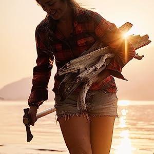 chogan, tomahawk, lake, woods, camping, axe, firewood, fireplace, outdoor, surival