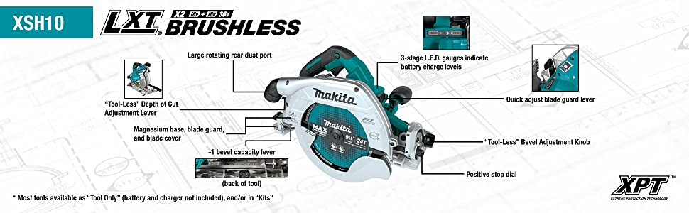 xsh10 lxt x2 brushless saw details features calll-out XPT handle woodworking workshop