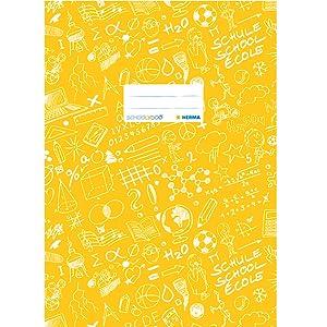 gelb Herma 19413 Heftumschlag DIN A5 SCHOOLYDOO 1 Heftschoner f/ür Schulhefte Kunststoff gemustert