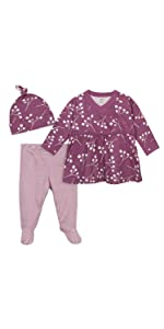 Baby Girls Organic 3-Piece Shirt, Footed Pant, and Cap Set