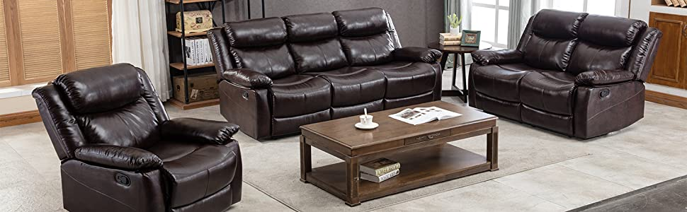 Incredible Harper Bright Designs Loveseat Recliner Manual Reclining Sofa Seat Classic Recliner Brown Leather Couch Sofa Set For Living Room Pabps2019 Chair Design Images Pabps2019Com