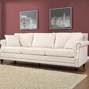 Amazon.com: TOV Muebles Camden Lino Sofá, color beige ...