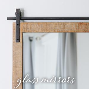 glass barn door mirror