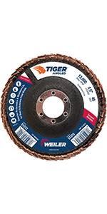 Angled Abrasive Flap Disc Weiler 50107 Saber Tooth 5//8-11 Arbor Ceramic Phenolic Backing 4-1//2 Diameter 80 Grit