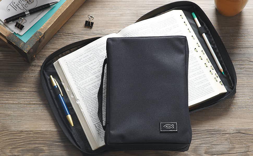 Funda Para La Biblia De Lona Polivinílica Gris Con Aplique De Pez Cristiano Gris