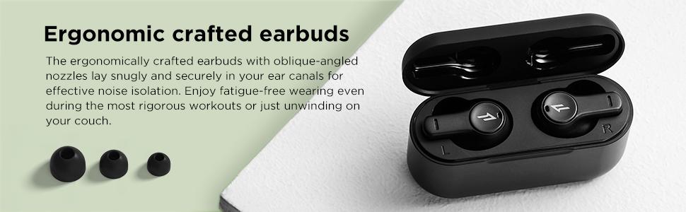 true wireless earbuds with ENC Microphones in-Ear Headphones