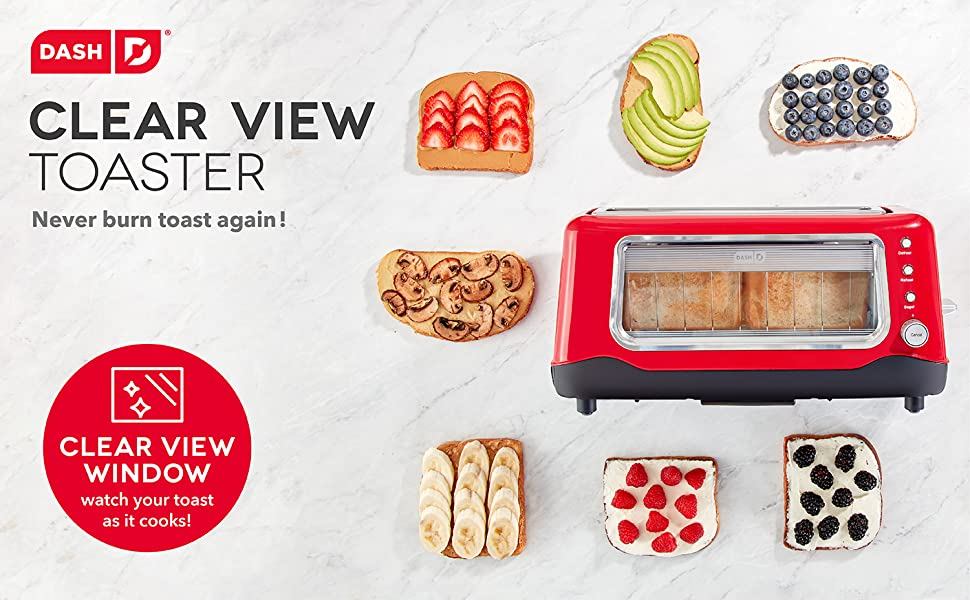 2 Slice Toaster Dash Clear View Long Slot Toaster with Glass Window White