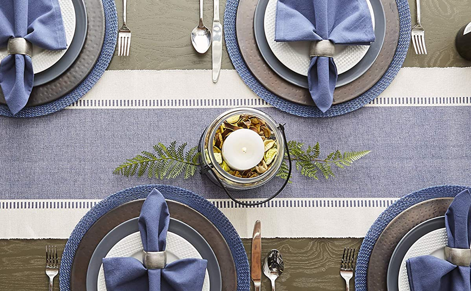 runner stripe cloth napkin ring placemat mat blue green red brown everyday
