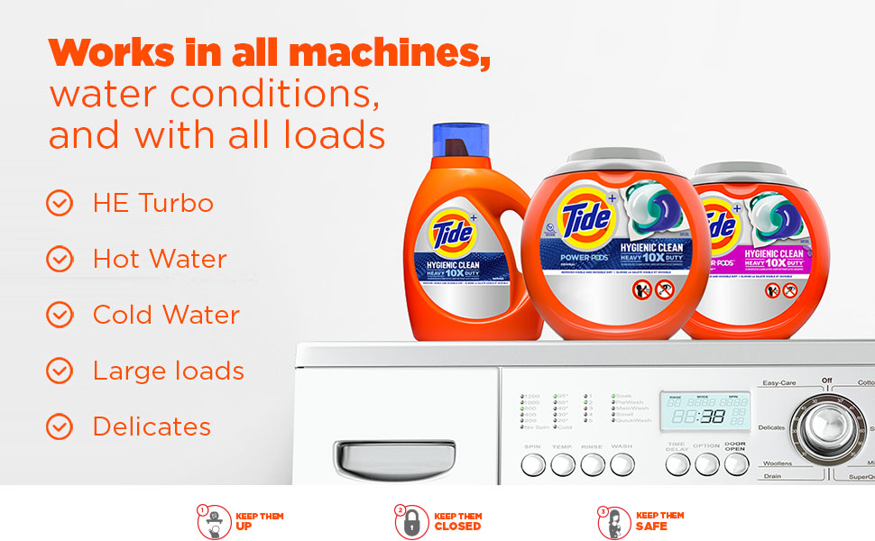 Works in all machines,water conditions,and with all loads.HE turbo,hot water,cold water,large loads