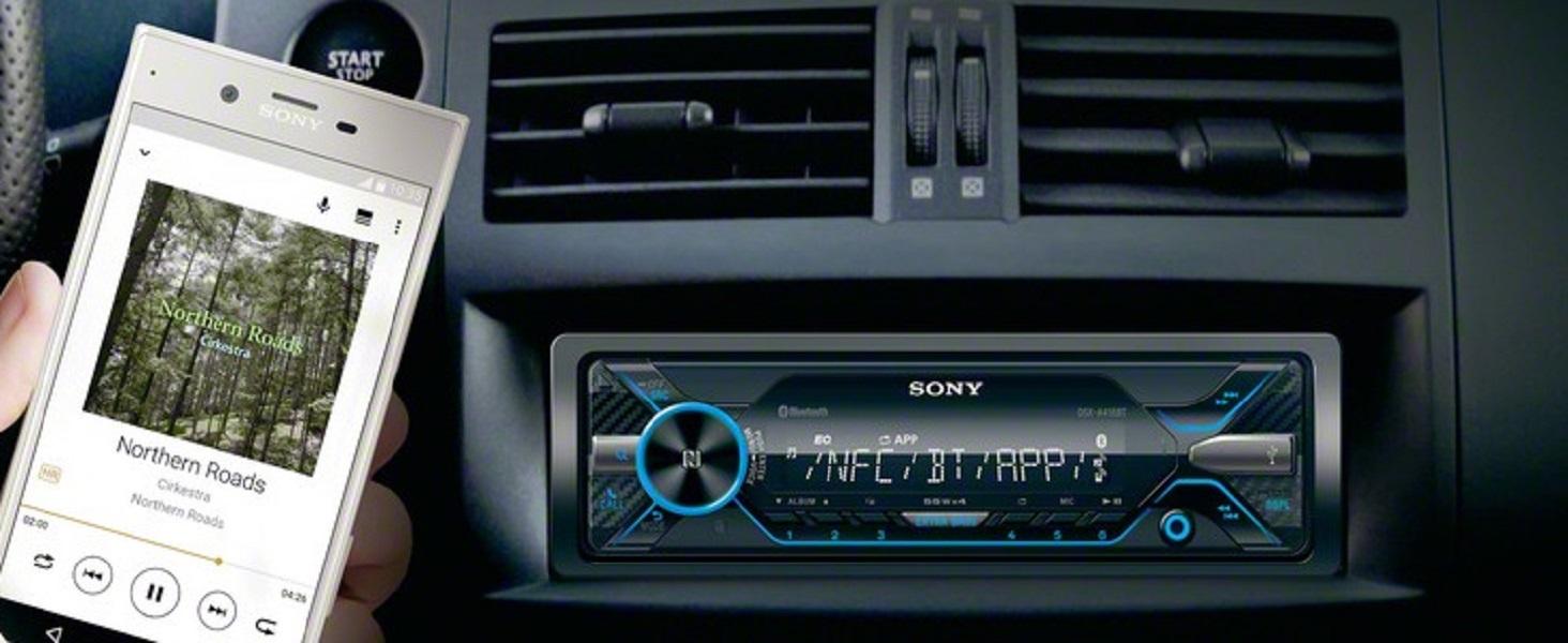 NFC | Freisprechen und Mikrofon Vario Color USB /& AUX Anschluss Sony DSX-A416BT Autoradio mit Dual Bluetooth 35.000 Farben