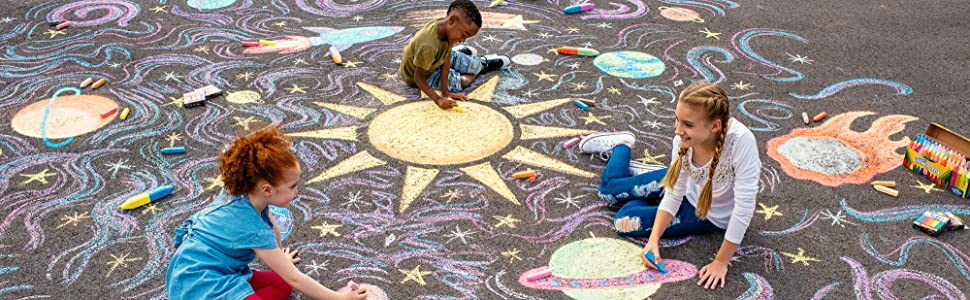 chalk, outdoor, art, washable, kids, sun, fun