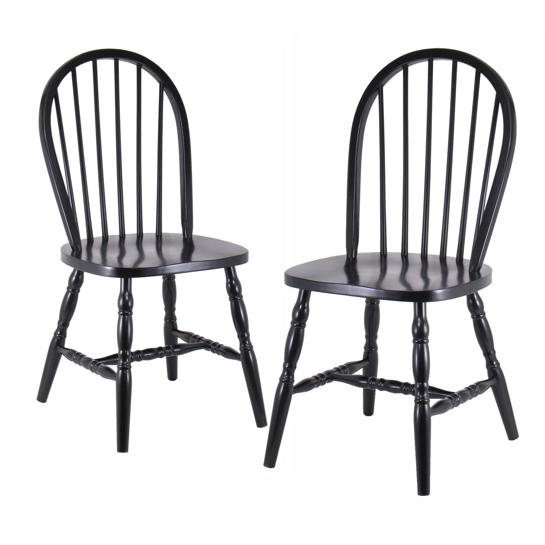 Winsome Wood Assembled 29 Inch Windsor Chairs Set of 2 Black