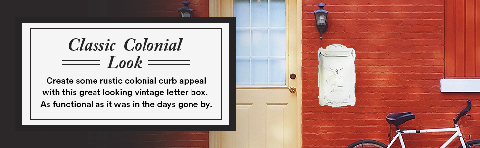 classic colonial look - rustic colonial curb appeal with vintage letter box & it's fully functional